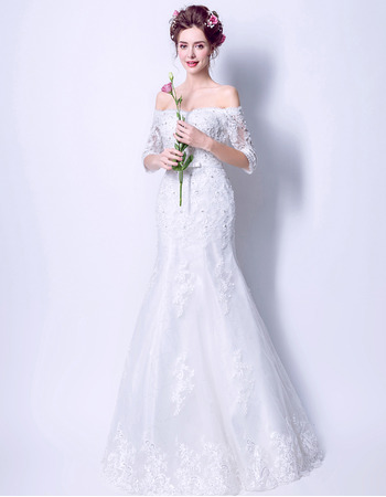 Delicate Beaded Appliques Off-the-shoulder Tulle Wedding Dresses with Half Sleeves