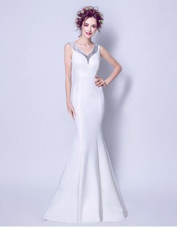 Sexy Mermaid Beaded V-Neck Satin Wedding Dresses with Low Illusion Back