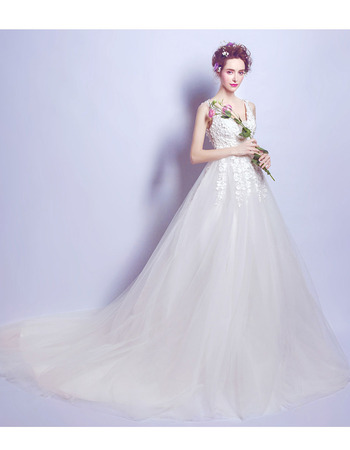 Affordable Lace Appliques Court Train Satin Tulle Wedding Dresses with Illusion Back