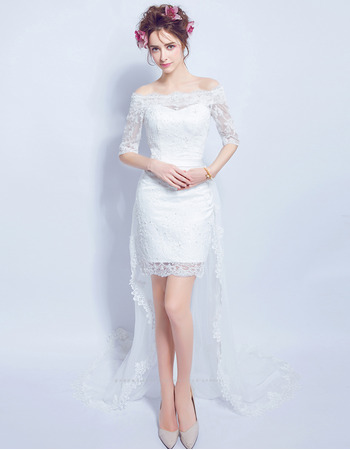 Delicate Off-the-shoulder High-Low Lace Wedding Dresses with Half Sleeves and Hand-made Flowers