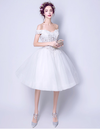 Attractive Sexy Ball Gown Off-the-shoulder Knee Length Short Wedding Dresses