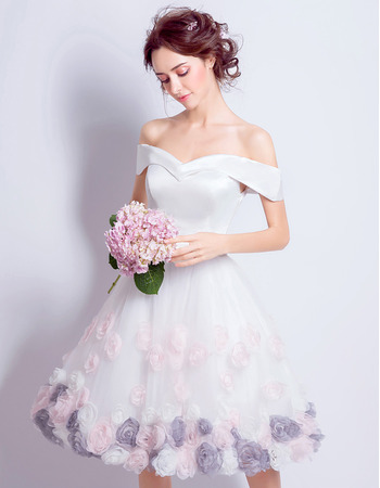 Fashionable A-Line Off-the-shoulder Knee Length Wedding Dresses with Colored Hand-made Flowers