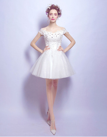 Classy Beaded Appliques A-Line Off-the-shoulder Mini Short Petite Reception Wedding Dresses