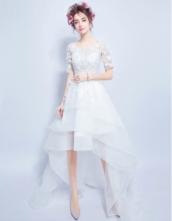 Fashionable A-Line High-Low Organza Applique Wedding Dresses with Short Sleeves and Layered Skirt