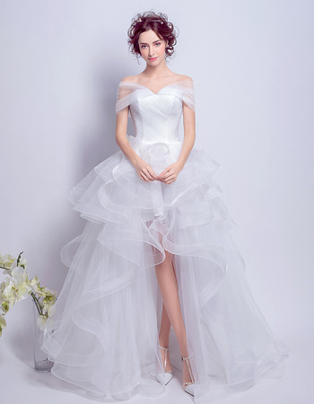 Fashionable Off-the-shoulder High-Low Ruffle Skirt Wedding Dresses with Exquisitely Layered