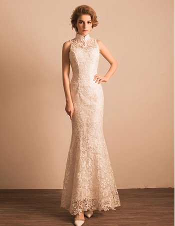 Junoesque Sheath High-Neck Lace Reception Wedding Dress