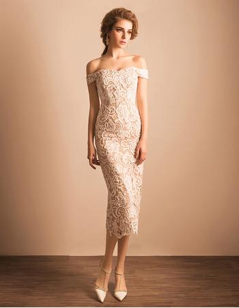 Ultra-feminine Sheath/ Column Off-the-shoulder Tea Length Lace Reception Wedding Dresses