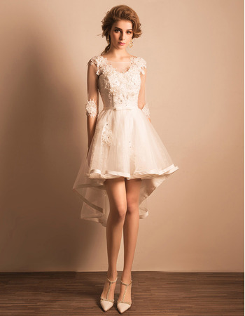 Fashionable Beaded Appliques High-Low Short Petite Wedding Dresses ...
