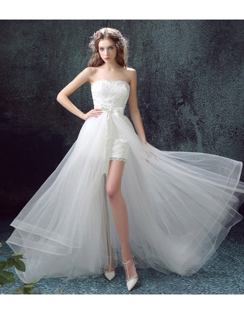 Classy Sweetheart Sleeveless High-Low Tulle Wedding Dresses with Lace Appliques