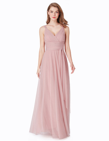 Affordable V-Neck Floor Length Chiffon Bridesmaid Dresses with Straps