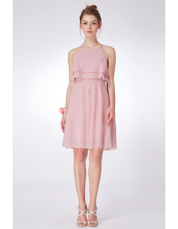 Summer Spaghetti Straps Mini/ Short Chiffon Bridesmaid Dresses