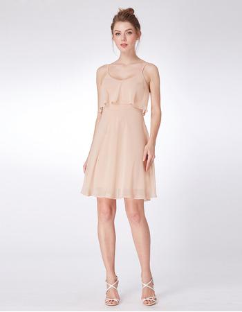 Custom Spaghetti Straps Mini/ Short Chiffon Bridesmaid Dresses