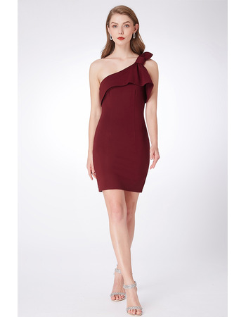 Petite Sheath One Shoulder Mini Bridesmaid Dresses with Modified Bow Detail