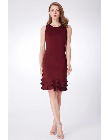 Tailored Petite Sheath Mini Satin Bridesmaid Dresses with Ruffled Tiered