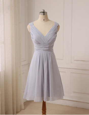 Affordable Ruched Bodice V-Neck Knee Length Chiffon Bridesmaid Dresses