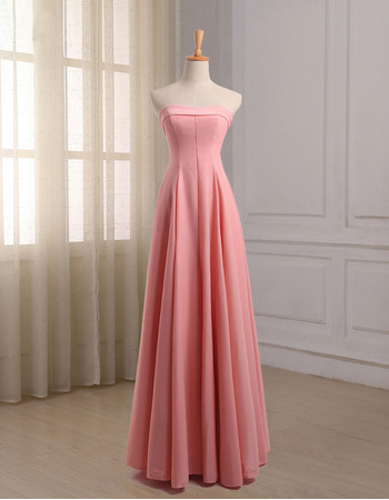 Affordable Simple Strapless Full Length Chiffon Bridesmaid Dresses