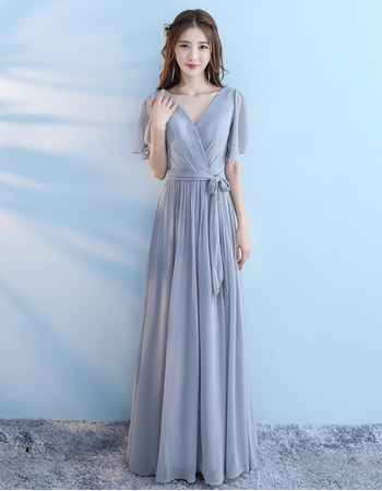 Discount V-Neck Pleated Chiffon Bridesmaid Dresse with Flutter Sleeves