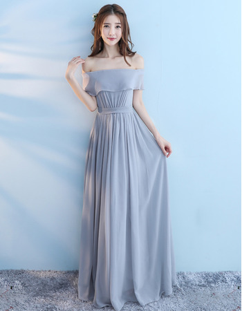 Affordable Off-the-shoulder Pleated Floor Length Chiffon Bridesmaid Dresses