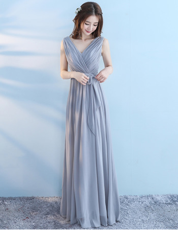 Elegant V-Neck Sleeveless Floor Length Chiffon Bridesmaid Dresses