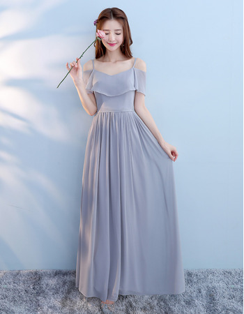 Affordable Off-The-Shoulder Floor Length Pleated Chiffon Bridesmaid Dresses