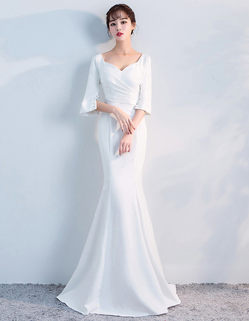Elegant Mermaid Sweetheart White Long Prom Evening Dresses with Half Sleeves