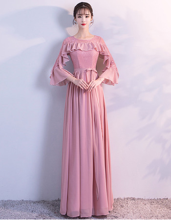 2018 New Style Long Chiffon Prom Evening Dresses with 3/4 Long Sleeves