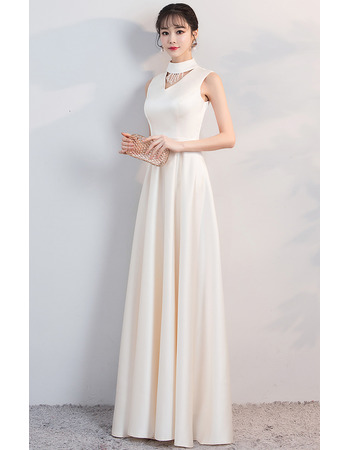Custom Mock Neck Sleeveless Floor Length Satin Prom Evening Dresses