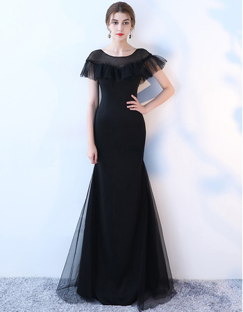 2018 New Style Sheath Short Sleeves Long Black Prom Evening Dresses