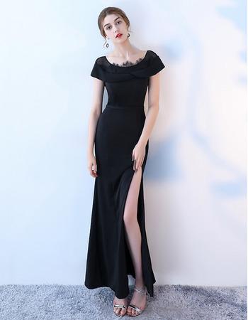 Custom Sheath Short Sleeves Black Satin Prom Evening Dress with Slit Skirt