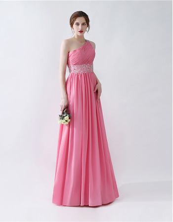 One Shoulder Floor Length Pleated Chiffon Prom Evening Dresses with Beaded Waist