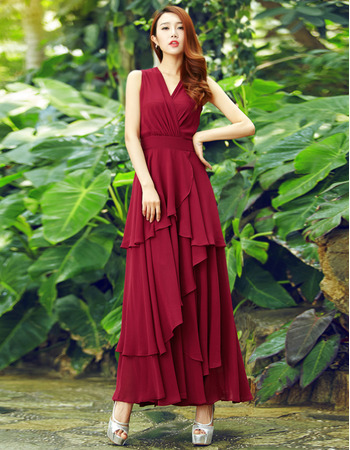 Custom V-Neck Sleeveless Ankle Length Chiffon Prom Evening Dresses