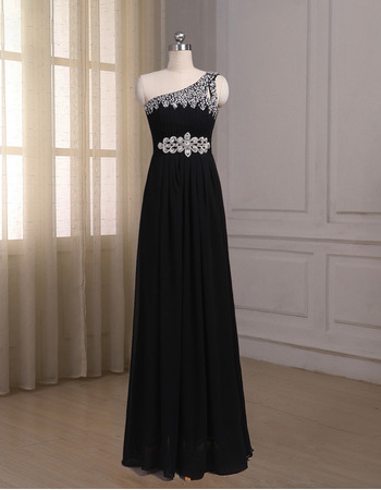 Elegant One Shoulder Sleeveless Floor Length Chiffon Prom Evening Dresses