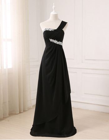 Gorgeous Rhinestone One Shoulder Asymmetrical Waistline Prom Evening Dresses