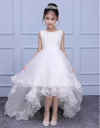 Luxury beaded appliques sleeveless high low asymmetrical hem sweep luxury beaded appliques sleeveless high low asymmetrical hem sweep train organza flower girl dresses mightylinksfo