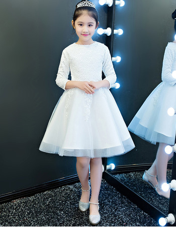 Affordable Simple A-Line Bateau Neck Short Appliques Lace Tulle Flower Girl Dresses with Long Sleeves