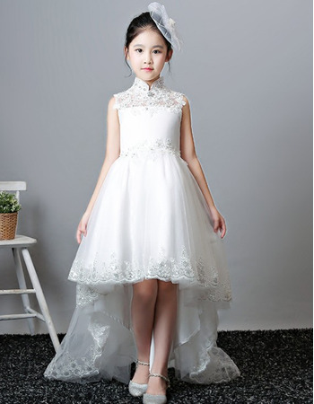 Fashionable A-Line Mandarin Collar Sleeveless High-Low Asymmetrical Hem Satin Tulle Flower Girl Dresses with Beaded Appliques