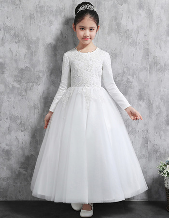 Classic Ball Gown Ankle Length Appliques Satin Tulle Flower ...