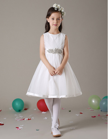 Lovely Discount A-Line Knee Length Satin Organza White Flower Girl Dresses with Crystal Detailing