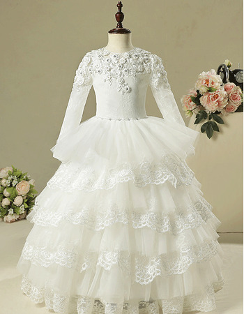 Gorgeous Ball Gown Crystal Appliques Ruched Layered Skirt Lace Tulle Flower Girl Dresses with Long Sleeves and Beaded Waist
