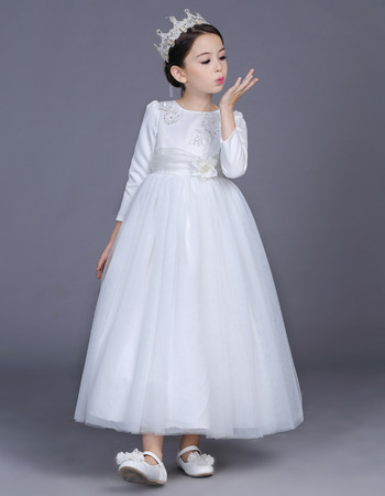 Lovely Beaded Appliques Ankle Length Satin Tulle Flower Girl Dresses with Long Sleeves/ White First Communion Plus Size Dresses