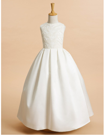 Discount Simple Ball Gown Full Length Lace Bodice Flower Girl Dresses