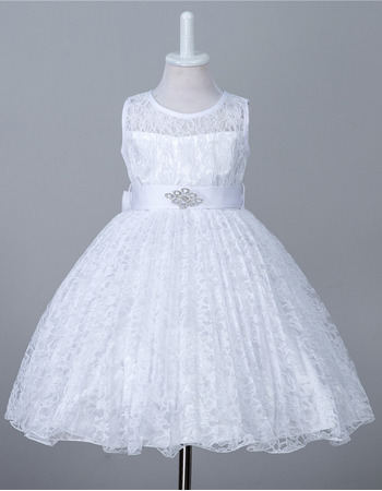 Simple Beautiful Sleeveless Knee Length Lace Flower Girl Dress with Belt/ Affordable Ball Gown First Communion Plus Size Dresses