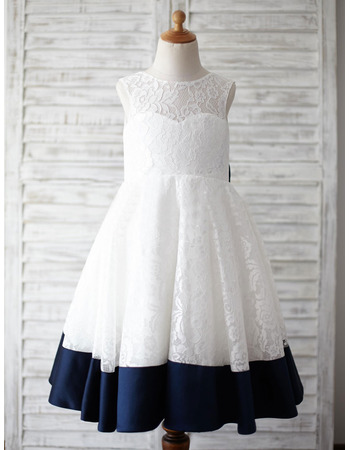 Custom V-back Sleeveless Knee Length Color Block Lace Flower Girl Dress with Bow and Satin-trimmed Hem