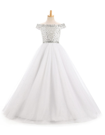 Luxury A-Line Off-the-shoulder Full Length White Flower Girl Dresses with Beaded Rhinestone Detailing