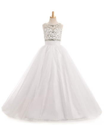 Luxury A-Line Sleeveless Full Length Organza White Flower Girl Dresses with Beaded Crystal Detailing