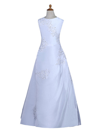 Designer Beautiful Beaded Appliques A-Line Sleeveless Long Length Satin Flower Girl Dresses/ White First Holy Communion Dresses