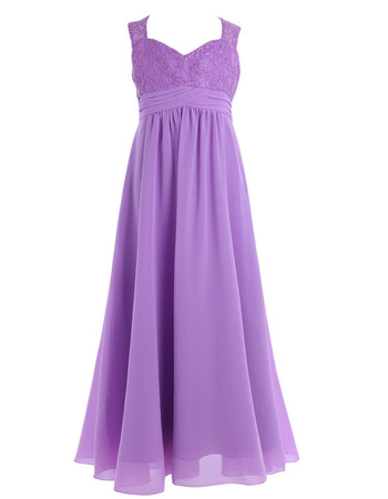 Perfect A-Line Sweetheart Full Length Chiffon Flower Girl Dresses with Lace Bodice