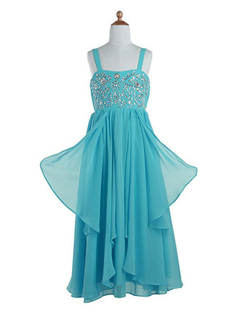 Luxury Beaded Empire Full Length Chiffon Summer Flower Girl Dresses with Wide Straps