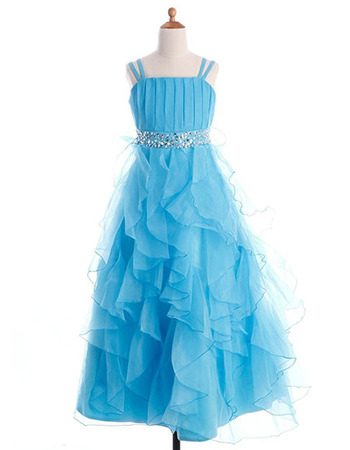 Perfect A-Line Ruffles Galore Skirt Organza Flower Girl Dresses with Wide Straps and Beaded Waist