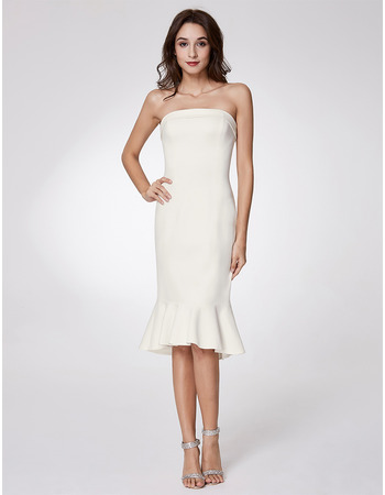 Stylish Simple Trumpet Strapless Knee Length Satin Evening Party Dresses
